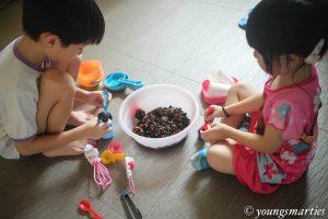 Sensory play with tapioca pearls