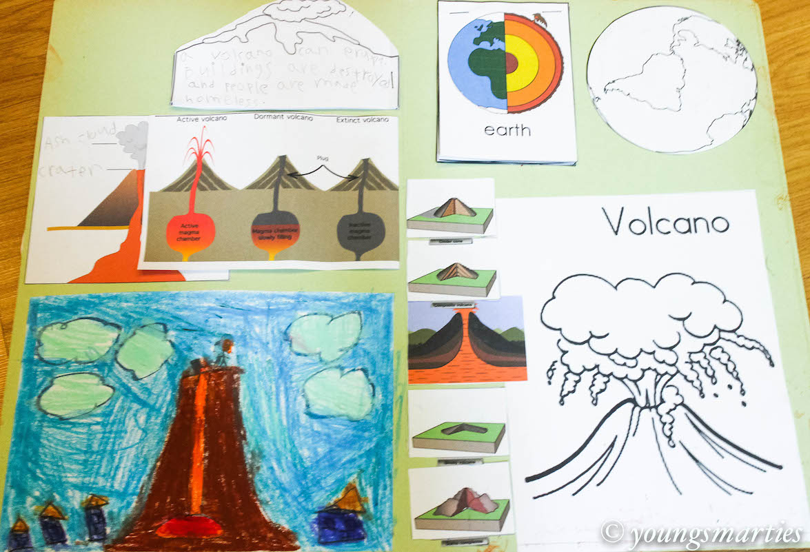 Volcano facts with volcano lapbook