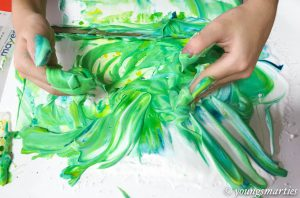 Shaving cream marbling for kids