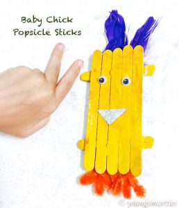 How to make a baby chick using popsicle sticks