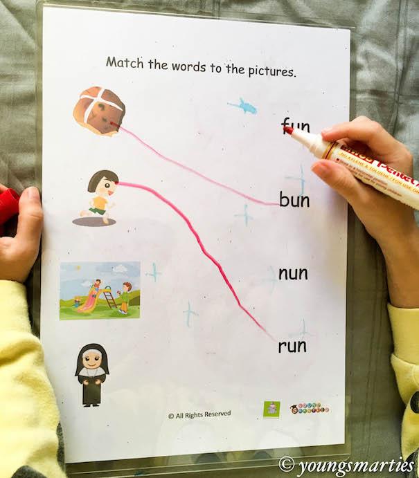 Smarties un CVC word family matching activity